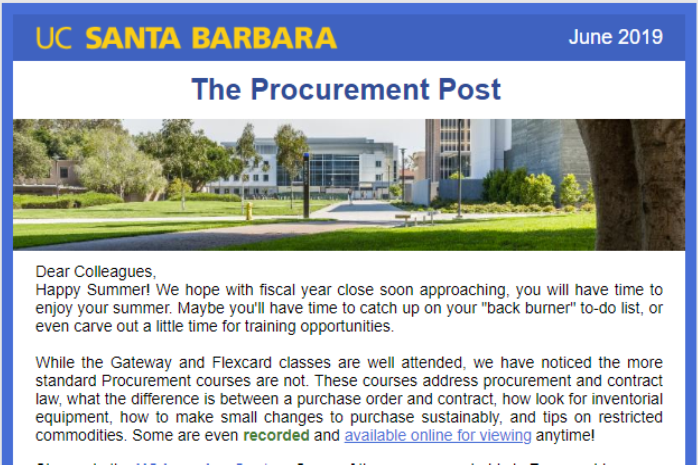 Procurement Post Screenshot