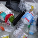 Plastic materials from recycling bin